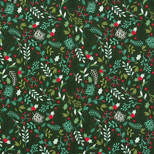 Baumwollstoff Popeline Zweige – dunkelgrün
