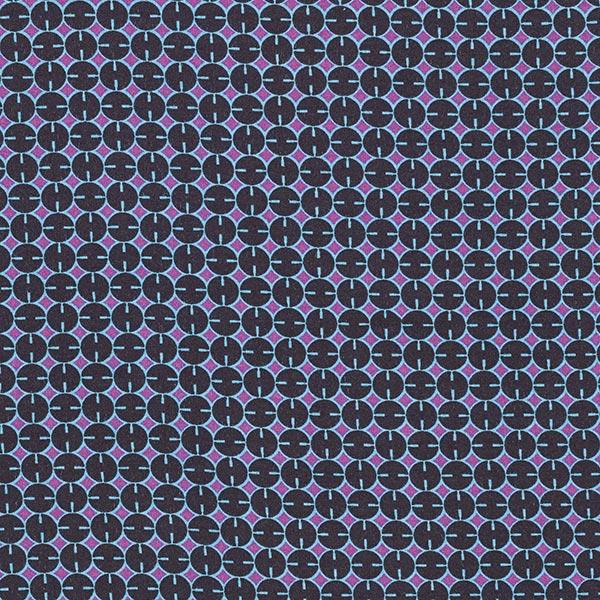 Tissu en viscose Cercles – noir/lilas rouge