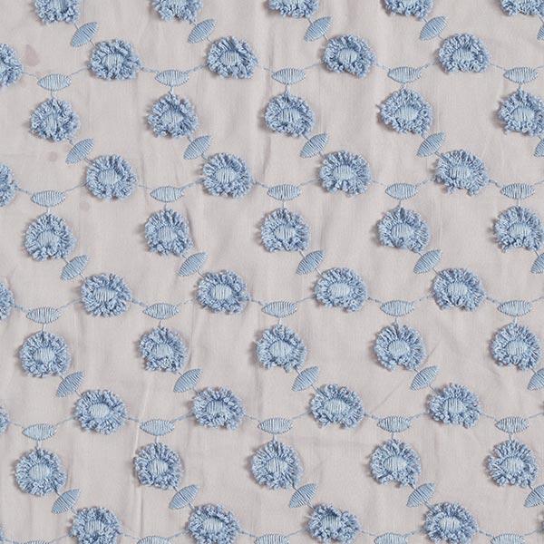 Batiste broderie pompon fleurs – gris clair/bleu