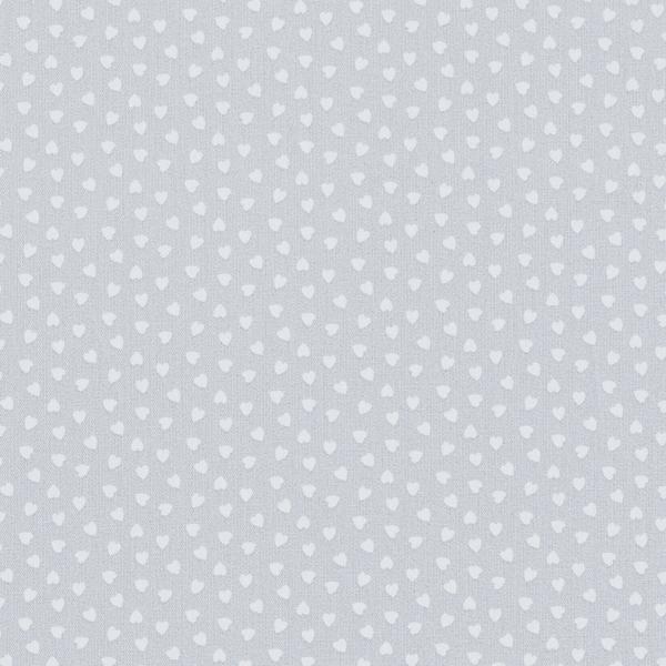 Tissu en coton Popeline Cœurs – gris clair