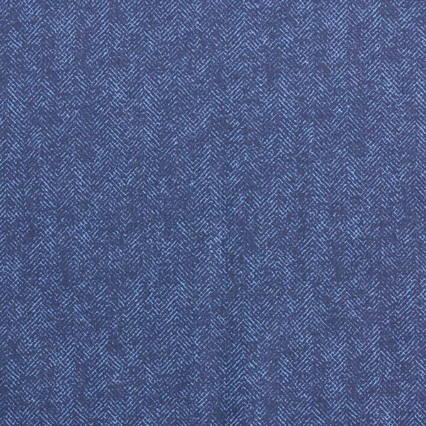 Tissu pour chemise Popeline coton Motif arêtes de poisson – bleu jean