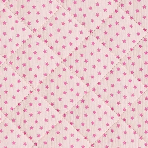 Musselin/ Doppel-Krinkel Gewebe Steppstoff Sternchen – rosé/pink