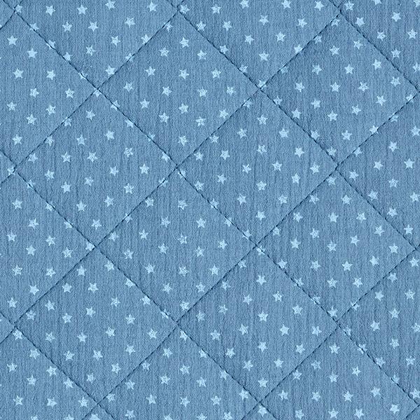 Musselin/ Doppel-Krinkel Gewebe Steppstoff Sternchen – stahlblau/hellblau