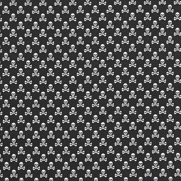 Tissu en coton Popeline Têtes de mort – noir