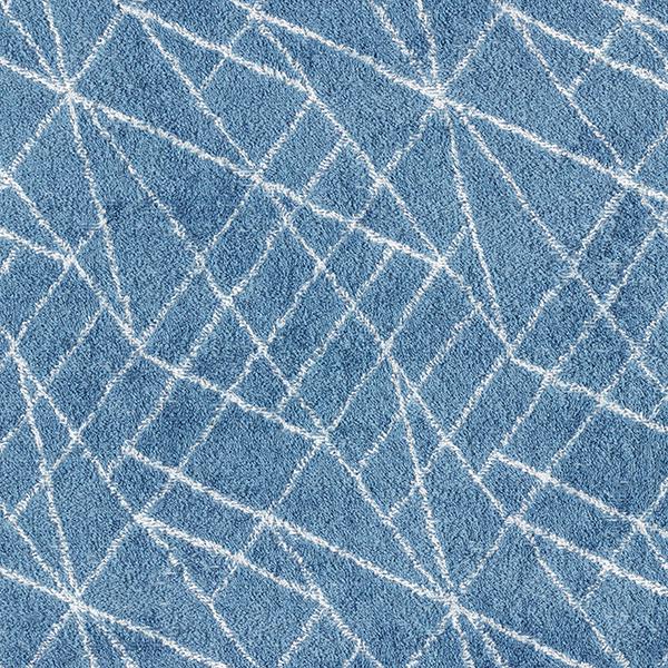Stretch Frotteestoff geometrische Muster – stahlblau/weiss