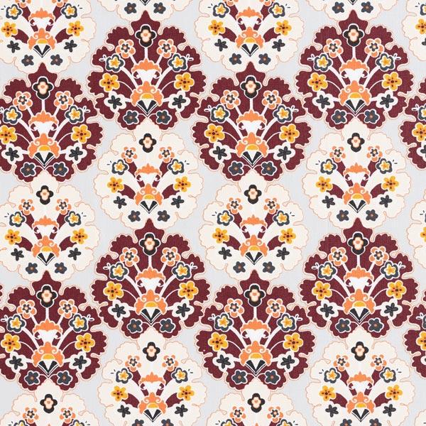 Beschichtete Baumwolle florale Ornamente – hellgrau