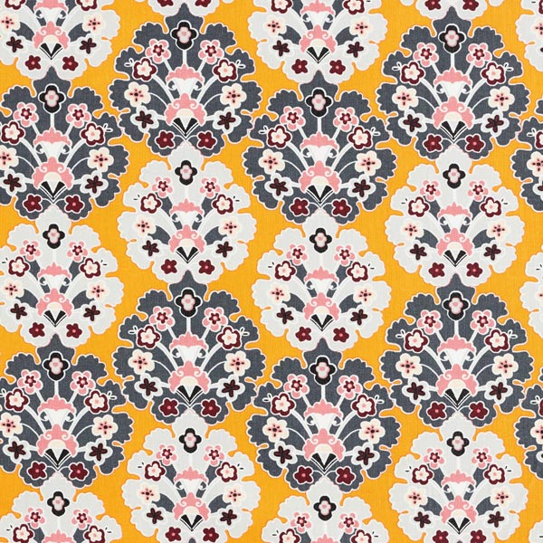 Beschichtete Baumwolle florale Ornamente – senf