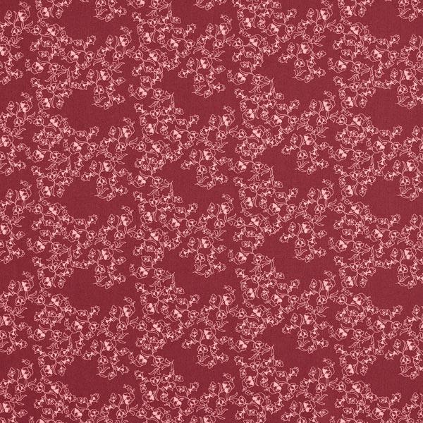 Dekostoff Cretonne Blumenranken Lineart – bordeauxrot