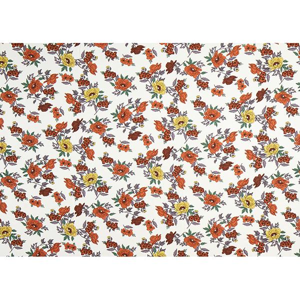 Feines Viskosegewebe Wildrosen – wollweiss/terracotta