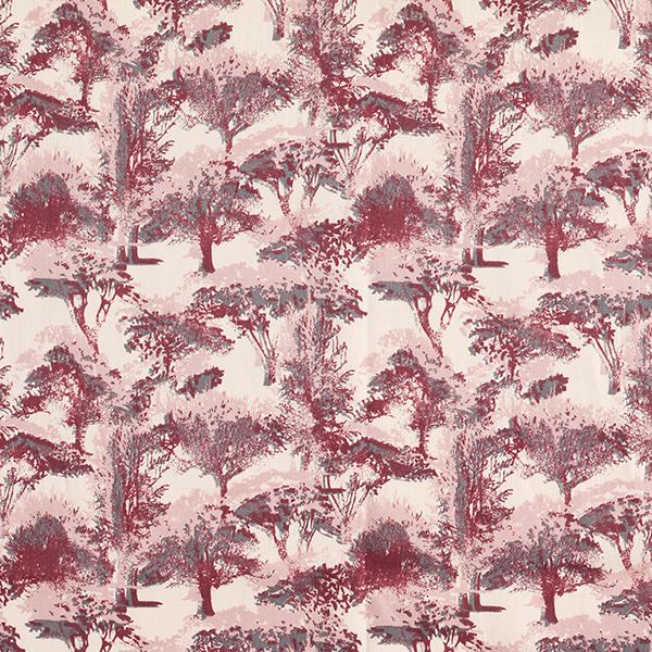 Popeline coton Forêt d'automne – crème/rouge bordeaux