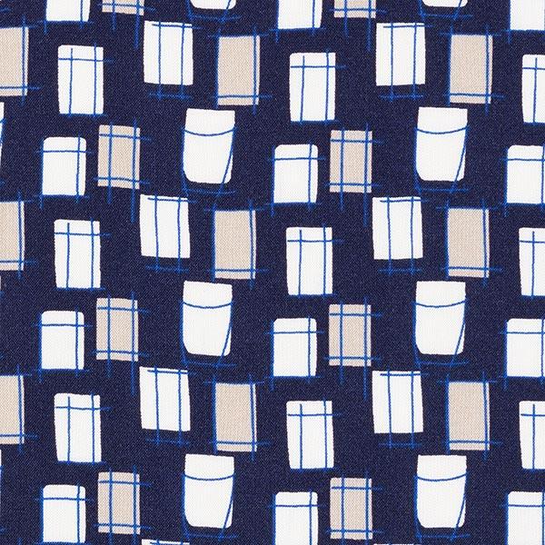 Feines Viskosegewebe Kästchen – marineblau