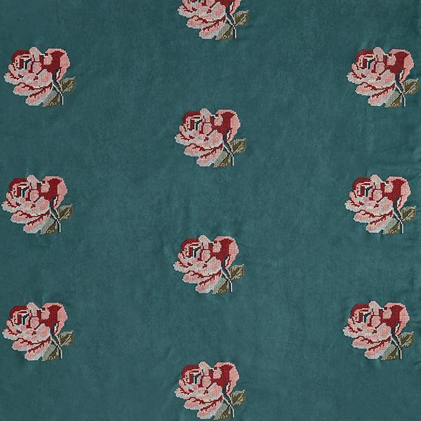 Micro-velours Broderie roses – vert foncé