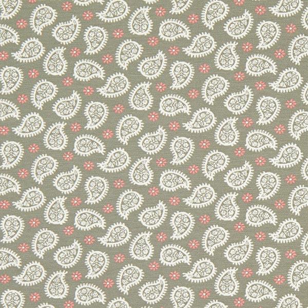 Jersey coton Mandela Fantasy Paisley – olive clair/nature   MEZ