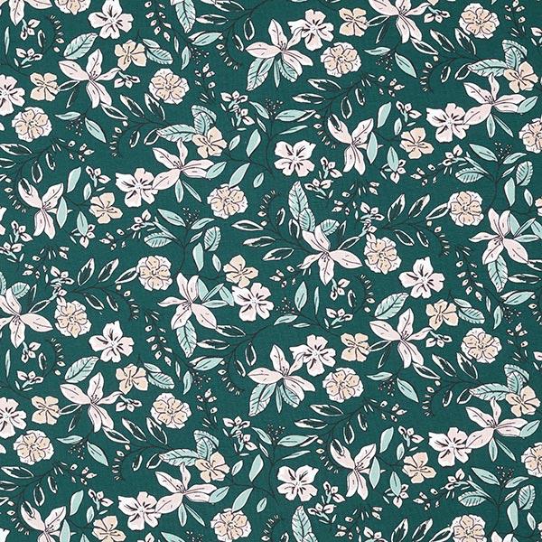 Baumwolljersey Flower Dream Field – dunkelgrün | MEZ