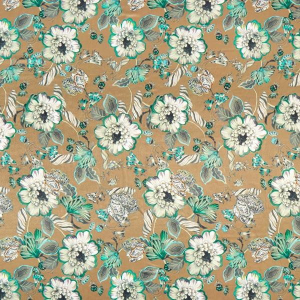Kleidersatin italienisches Design Blumenmalerei – dunkelbeige