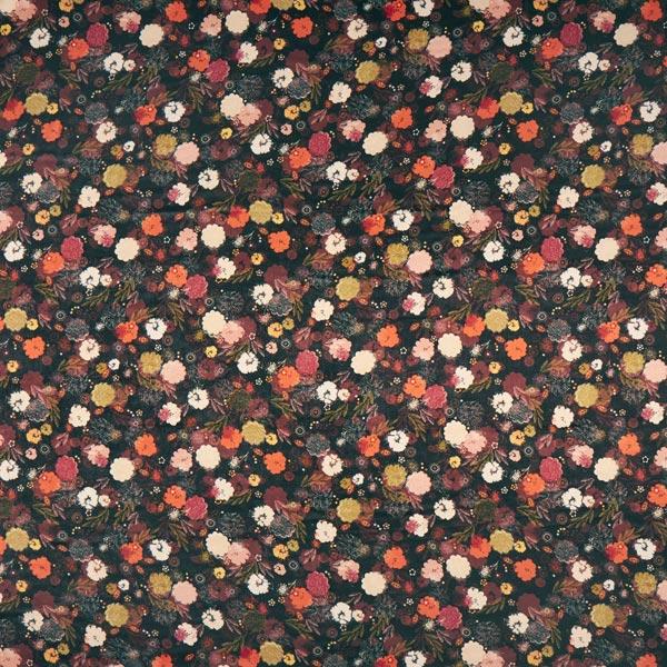 Kleidersatin italienisches Design Herstblumenfreude – schwarz