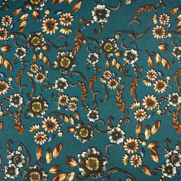 Satin pour robe Design italien Fleurs – pétrole