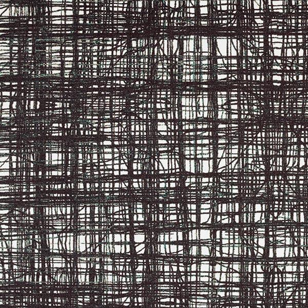 Polyester Satin gekritzeltes Karo – noir/blanc