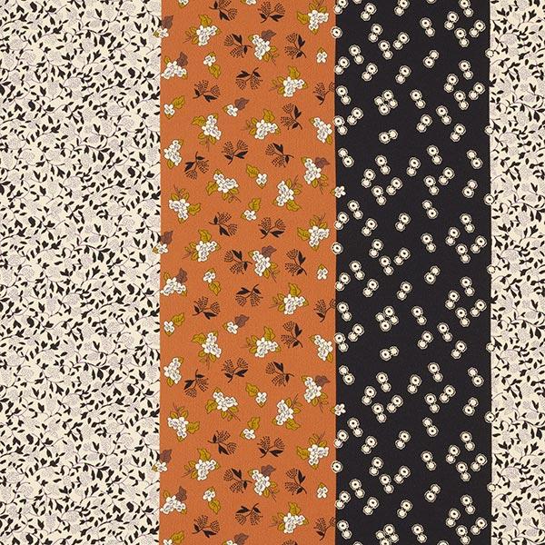 Polyester Krepp breite Streifen mit Blumen & Ranken – écru