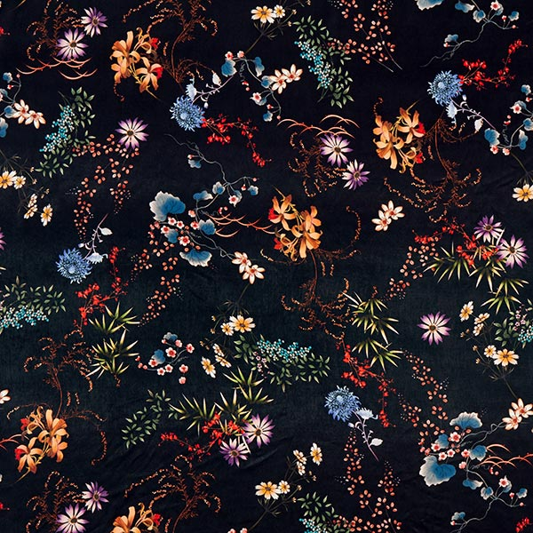 Polyester Satin asiatische Blumen – noir