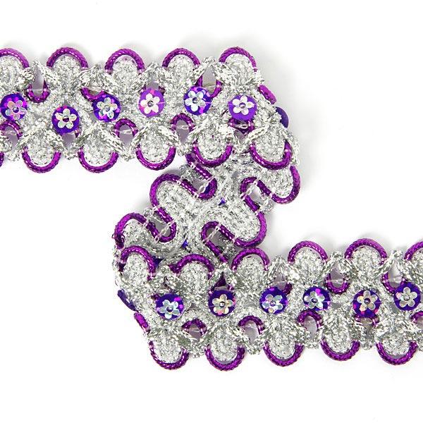 Galon de Lurex avec des paillettes fleuries 6