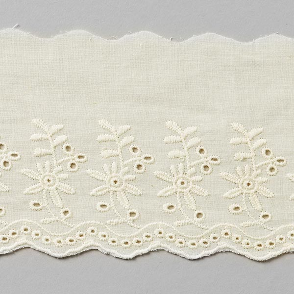 Dentelle festonnée Fleur de jardin [90mm] - blanc cassé