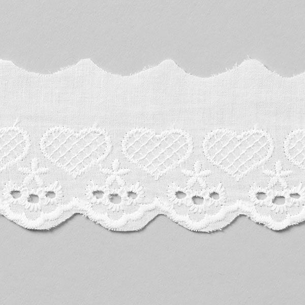 Dentelle festonnée Petits cœurs [50 mm] - blanc