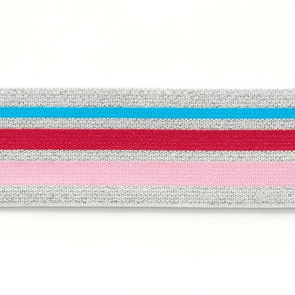 Ruban élastique Glitter [ 4 cm ] – argent/rose