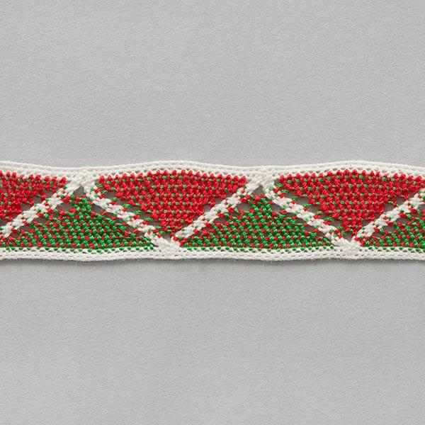Baumwollband Ibiza [ 22 mm ] – wollweiss/signalrot