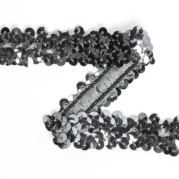 Galon pailleté élastique (20mm) 11, argent ancien