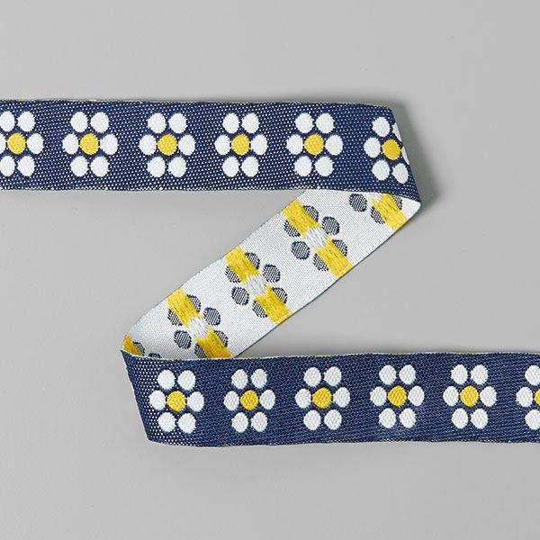 Ruban tissé Fleur (16mm) 5 – jaune/bleu