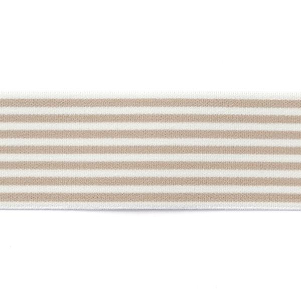Ruban élastique avec bordure à rayures [40 mm] - beige / blanc