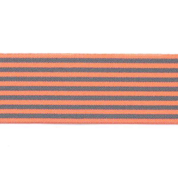 Ruban élastique avec bordure à rayures [40 mm] - saumon/gris