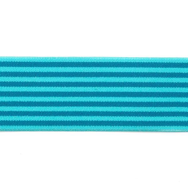 Ruban élastique avec bordure à rayures [40 mm] - pétrole