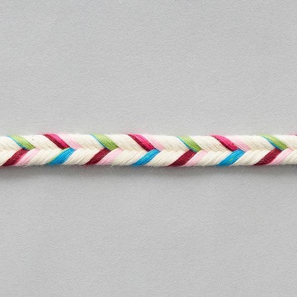 Cordon tressé double [ 10 mm ] – écru/rose