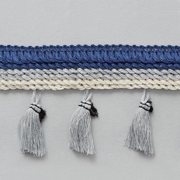Frange pompon [ 30 mm ] – bleu marine/gris
