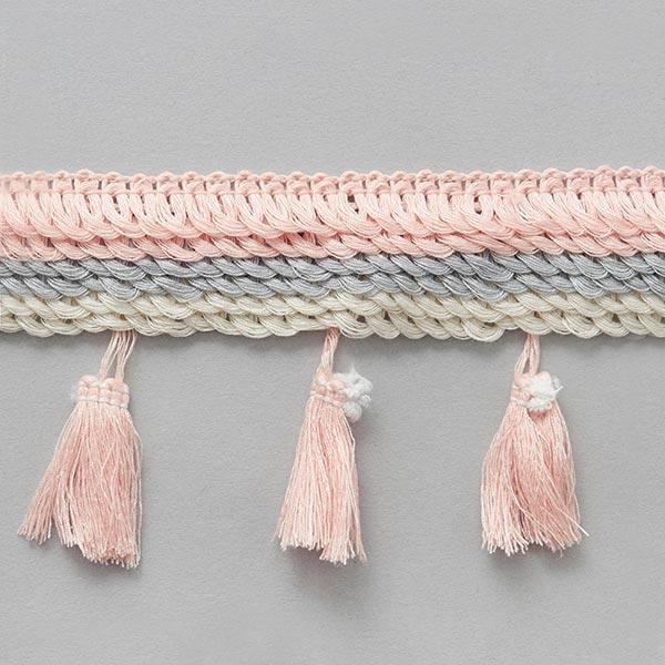 Frange pompon [ 30 mm ] – rosé/gris