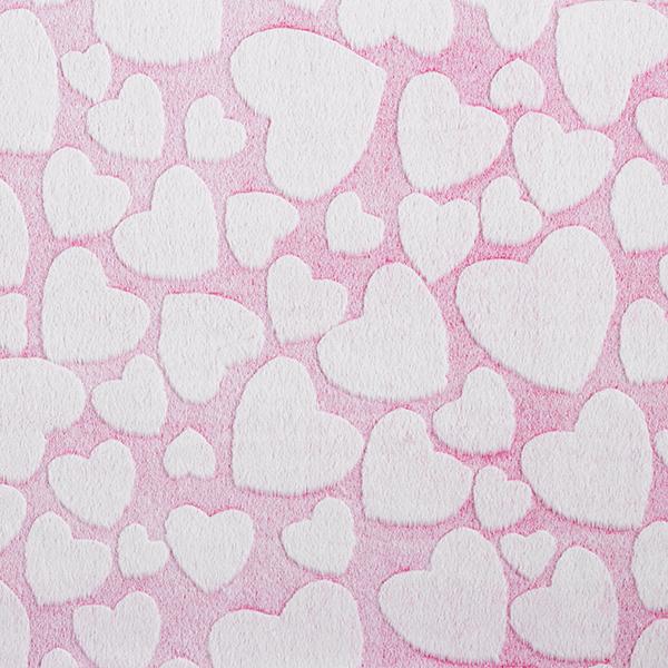 Jersey coton Cœurs – rose vif/blanc