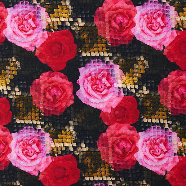 Viskosejersey Digitale Rosen – schwarz
