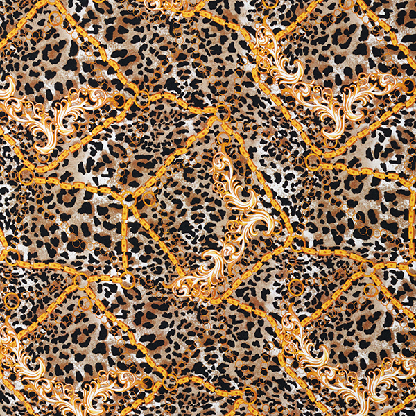 Jersey viscose Motif léopard & chaines – beige foncé