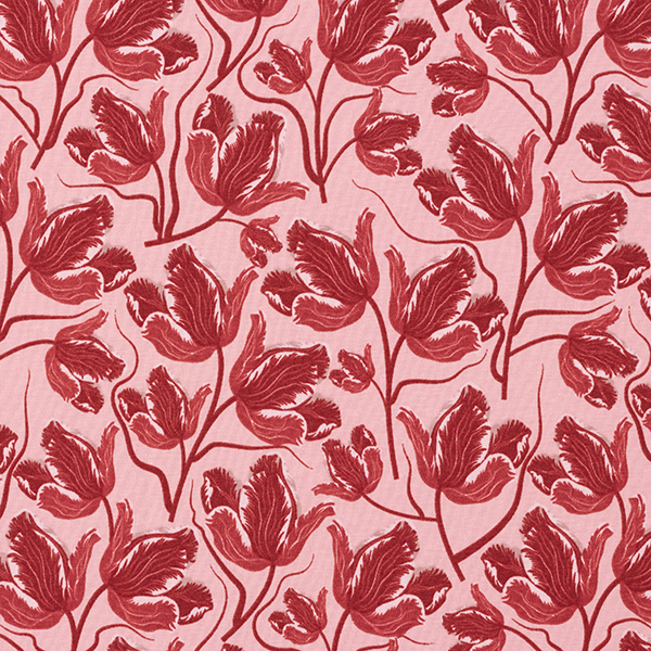 Jersey coton tulipes perroquet – rose