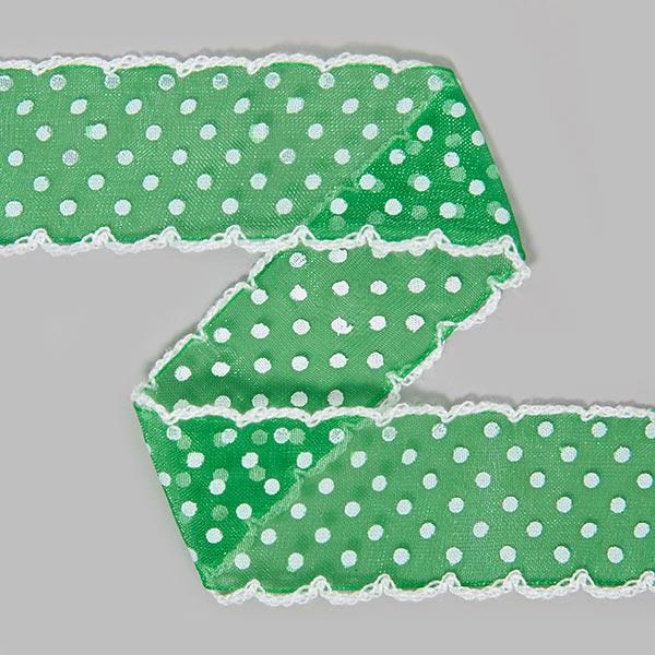 Organzaband Dots [30 mm] - dunkelgrün | 5