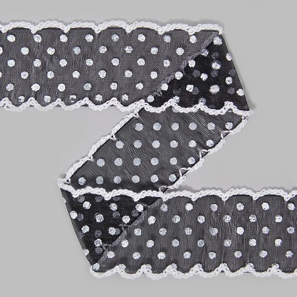 Organzaband Dots [30 mm] - schwarz | 13