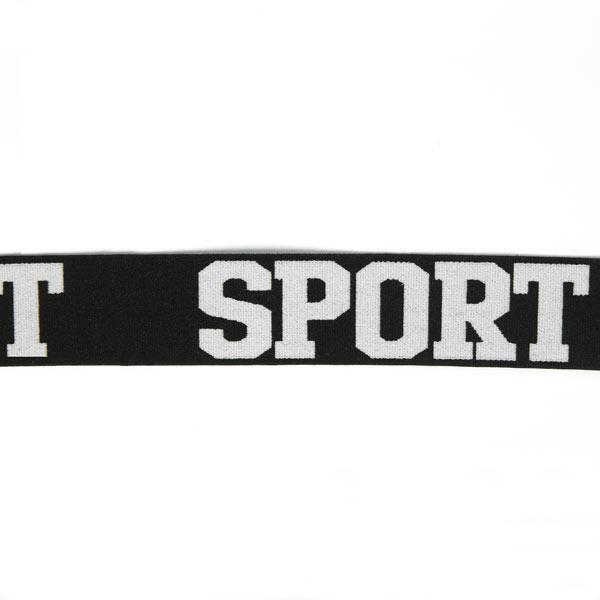 Ruban élastique Sport – noir/blanc