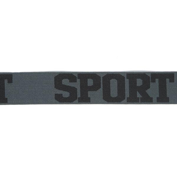 Ruban élastique Sport – gris foncé/noir