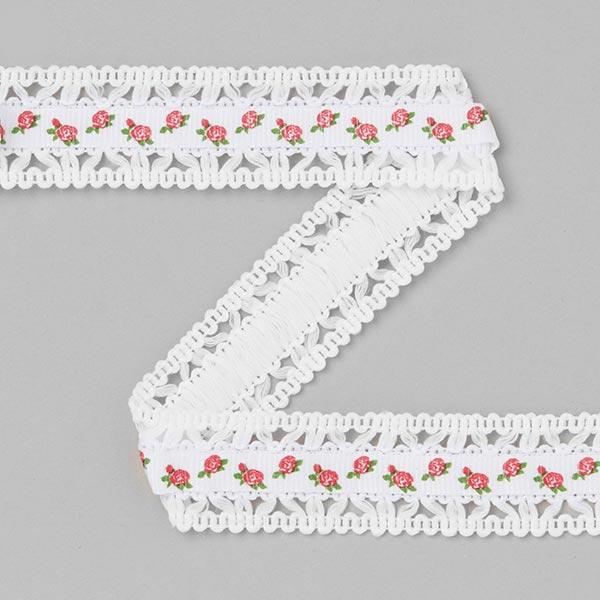 Ruban de reps dentelle Roses [20 mm] - blanc