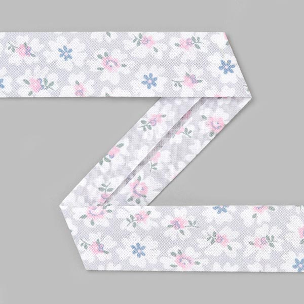 Biais coton Petites fleurs [20 mm] - gris clair