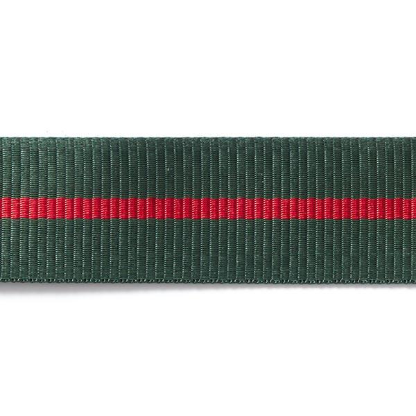 Sangle Rayures [35mm] – vert foncé/rouge