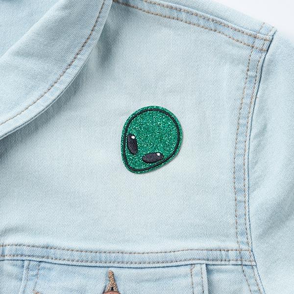 Application Space Paillettes Alien [3,6 x 4,5 cm] - vert