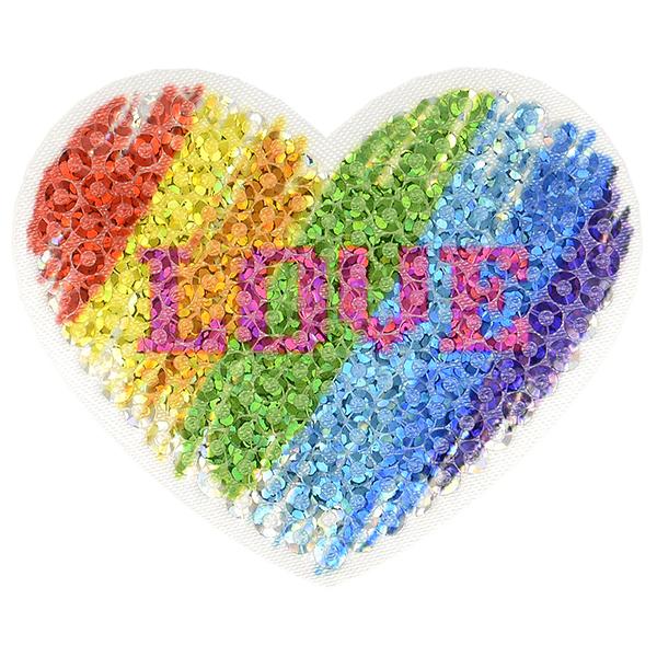 Application Paillettes Love  – mélange de couleurs